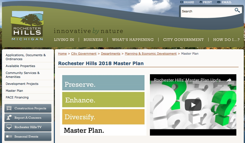 Contribute to the Rochester Hills Master Plan